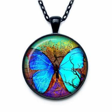 Butterfly pendant Butterfly necklac..