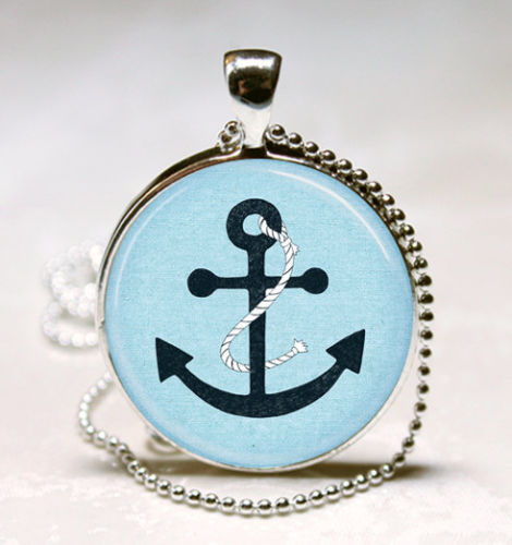 Navy Blue Anchor Necklace Nautical Jewelry Ocean Ship Sailing Art Pendant