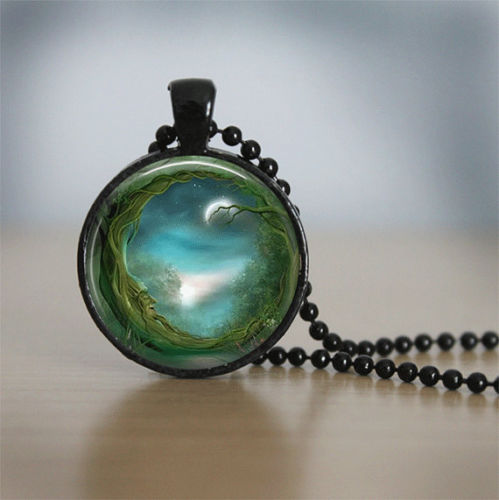 Glass Tile Necklace Moon Necklace Glass Tile Jewelry Wiccan Jewelry Moon