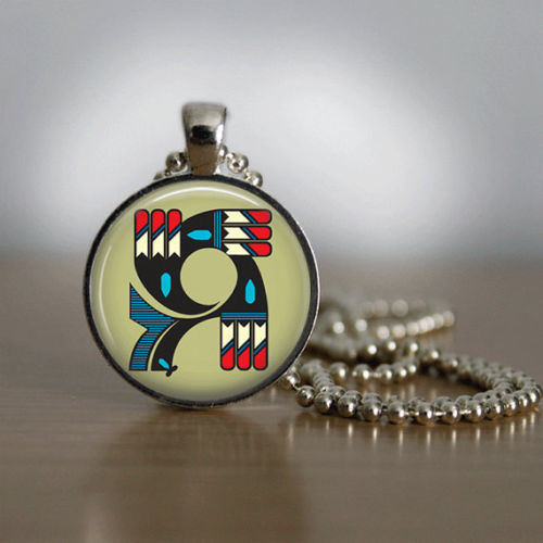 Glass Tile Necklace Native American Jewelry Southwestern Jewelry Kokopelli