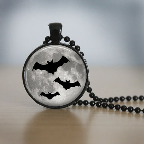 Halloween Necklace GlassTile Necklace Moon Jewelry Glass Tile Jewelry Bat Necklace