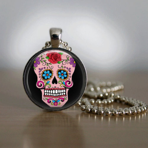 Sugar Skull Necklace Glass Tile Necklace Day of the Dead Necklace Pink Jewelry