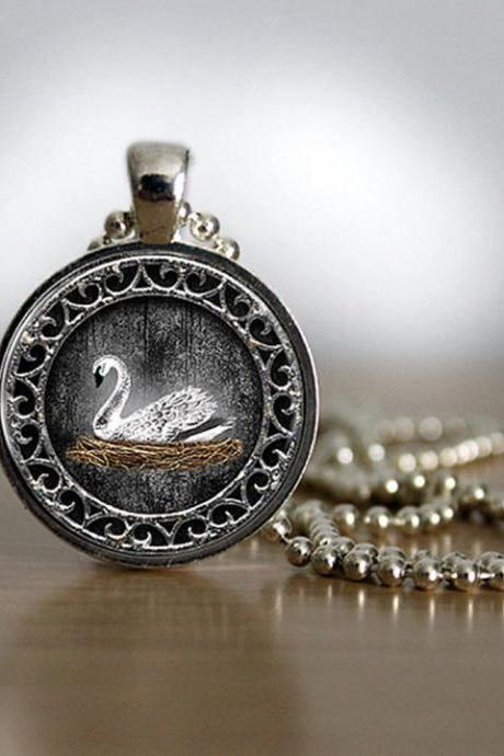 White Swan Emma Swan Once Upon a Time Inspired Pendant in Silver Plated