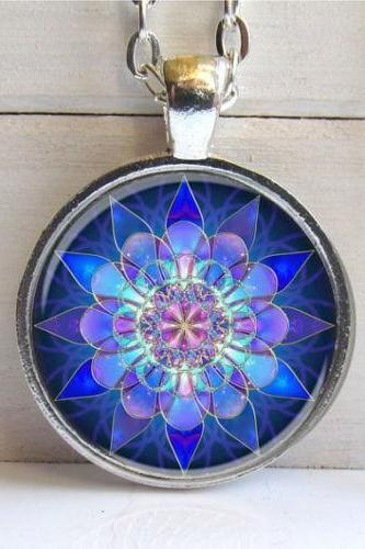 Mandala Pendant, Mandala Art Necklace, Soothing Blue Mandala, Yoga
