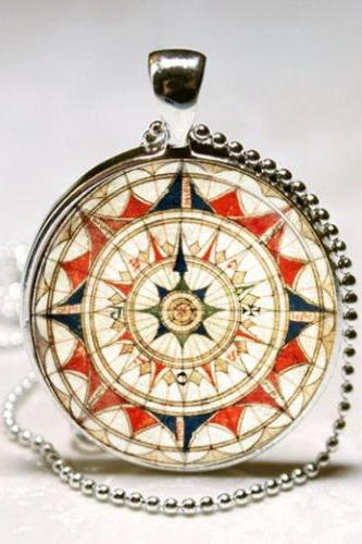 Compass Necklace Windrose Nautical Jewelry Compass Rose Art Pendant