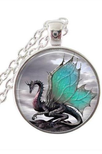 Dragon pendant wonderful dragon necklace dragon art silver color