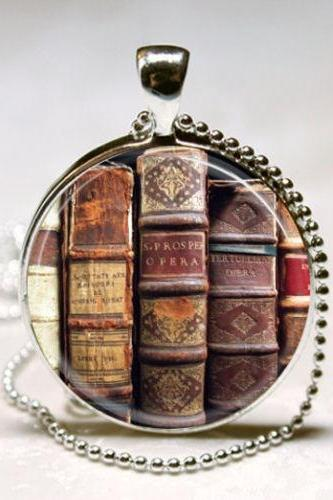 Book Necklace, Librarian Jewelry, Library, Bibliophile, Book Lover, Bookworms