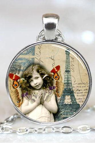 Girl with Butterflies and Eiffel Tower France French Paris Handcrafted Necklace