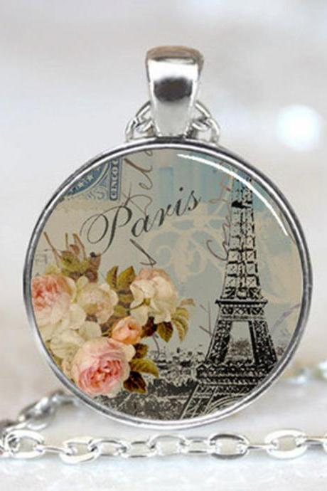 Eiffel Tower with White and Pink Flowers, Paris, France, Handcrafted Necklace