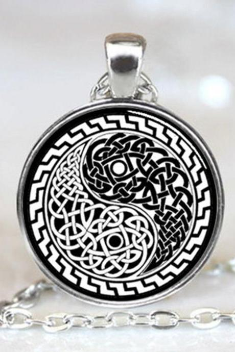 Celtic Style Yin Yang Oriental Handcrafted Necklace Pendant