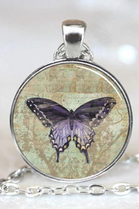 Vintage Purple Butterfly Handcrafted Necklace Pendant