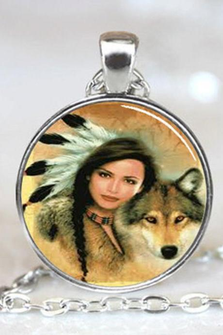 Native American Woman with Wolf pendant, Native American pendant charm