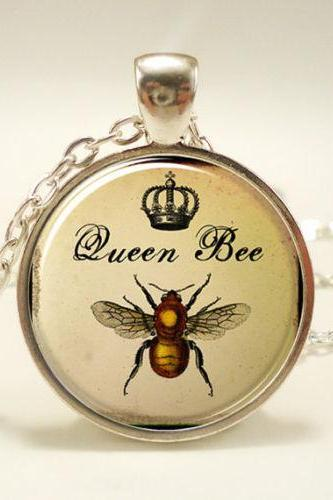 Queen Bee Necklace, Royal Crown Insect Art Pendant, Bee Jewelry