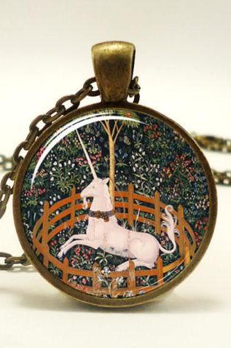 Unicorn Necklace, The Hunt of the Unicorn, Medieval Style Art Pendant, Bronze