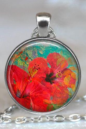 Summer Hibiscus necklace, Hibiscus pendant, flower necklace, flower pendant