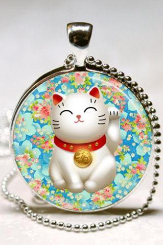 Lucky Cat Necklace Pink and Blue Flower Blossom Maneki Neko Good Luck