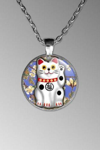 Lucky Cat Necklace, Maneki-neko, Japanese Cat, Manekineko