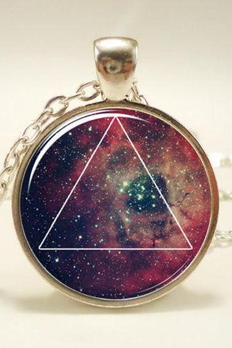 Galaxy Triangle Necklace, Hipster Nebula Jewelry, Geometric Star Pendant