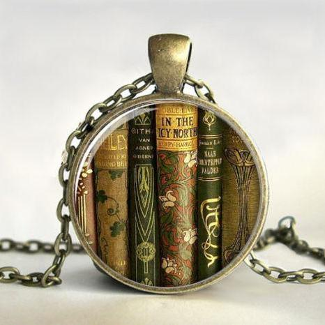 Library Book Necklace,Book Pendant,Book Jewelry