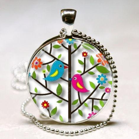 Bird Necklace Lovebirds In Colorful Tree Flowers Spring Nature Art Pendant