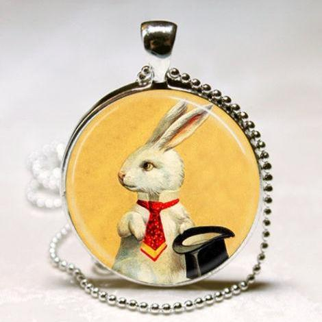 White Rabbit Necklace Magician's Jewelry Bunny with Top Hat Magic Trick Art