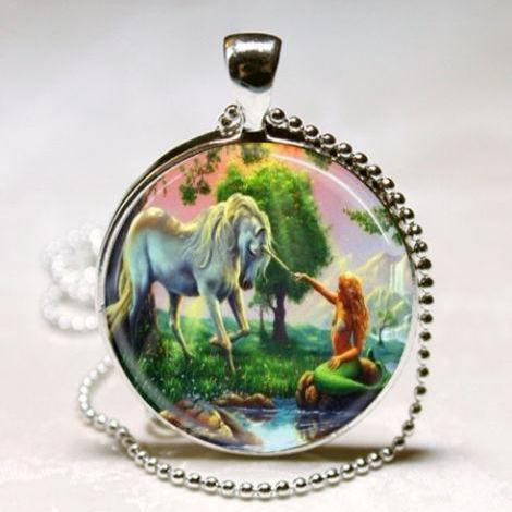Unicorn and Mermaid Necklace, Unicorn Jewelry, Mythological Creatures