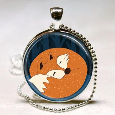 Sleeping Fox Necklace Woodland Creature Forest Animal Red Fox Spring Nature Art