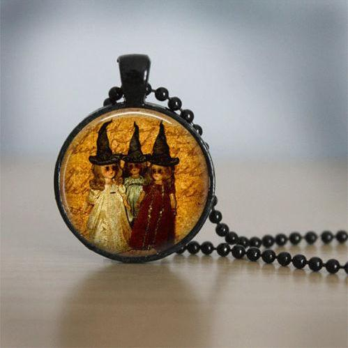 Halloween Jewelry Halloween Necklace Glass Tile Necklace Witch Jewelry Black