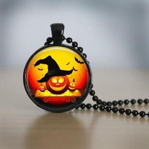 Halloween Necklace GlassTile Necklace Black Necklace Glass Tile Jewelry