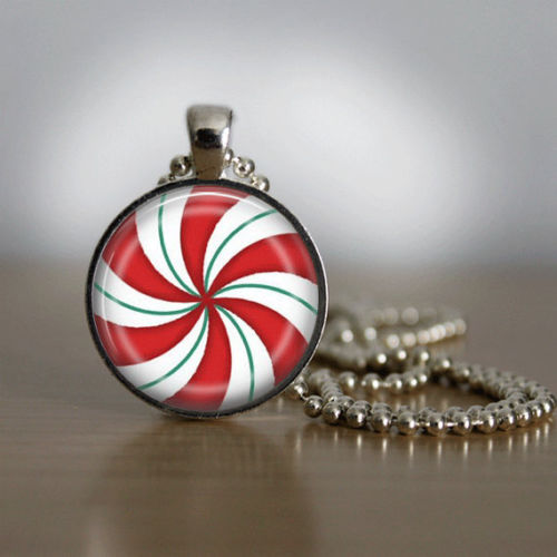 Christmas Necklace Christmas Jewelry Glass Tile Necklace Glass Christmas Candy