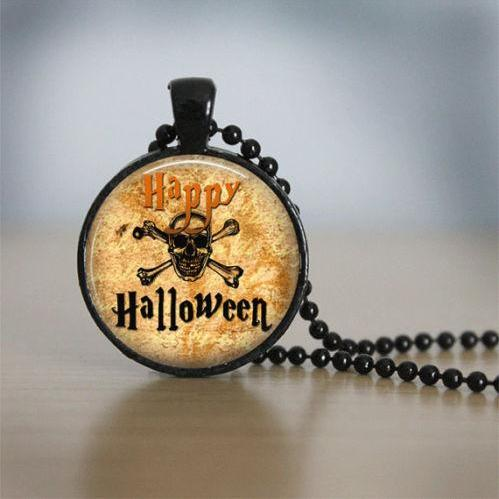 Halloween Necklace GlassTile Necklace Brass Necklace Glass Tile Jewelry
