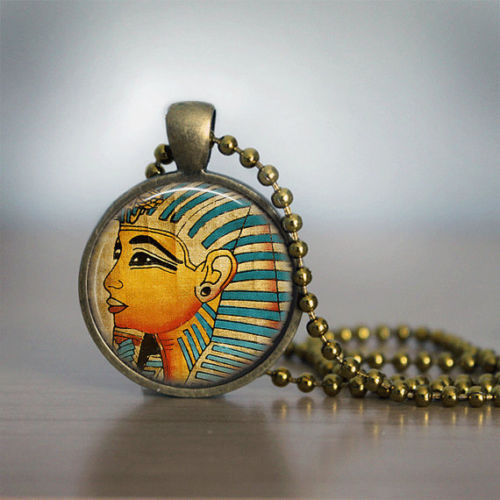 Glass Tile Necklace Pharoah Necklace Egyptian Necklace Glass Tile Jewelry