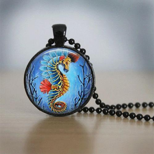 Glass Tile Necklace Seahorse Necklace Fish Necklace Glass Tile Jewelry Seahorse