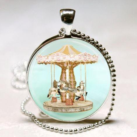 Merry Go Round Necklace, Vintage Carousel Horse, Circus, Carnival Art