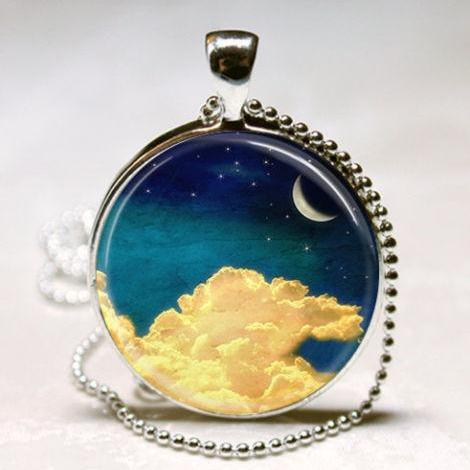 Crescent Moon Necklace Stars Clouds Astronomy Celestial Art Pendant with Ball