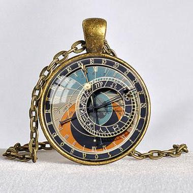 STEAMPUNK CLOCK Pendant Astronomical Clock Zodiac Necklace