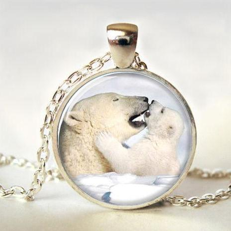Polar Bear Necklace, Polar Bear Pendant, Art Pendant,Polar Bear Jewelry, Polar