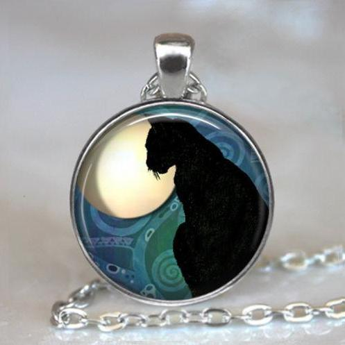 Black Cat Moon pendant, black cat jewelry, resin pendant, cat necklace