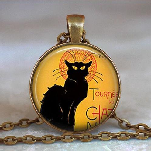 Le Chat Noir art pendant charm, Le Chat necklace, cat necklace, cat jewelry
