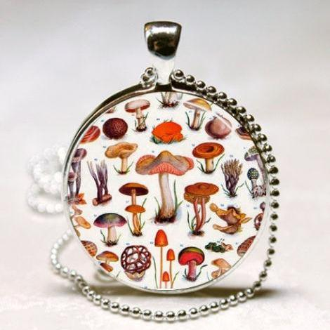 Mushroom Necklace Toadstools, Nature, Woodland, Hippie, Alice In Wonderland