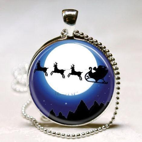 Christmas Jewelry Santa Claus Santa's Sleigh Reindeer Art Pendant with Ball