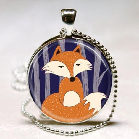 Red Fox Necklace Woodland Creature Forest Animal Spring Jewelry Art Pendant