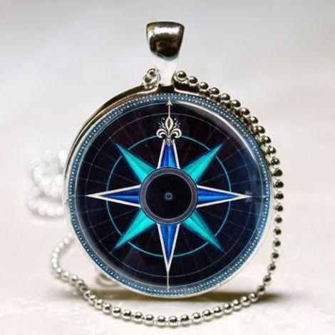 Compass Rose Necklace Nautical Jewelry Navy Blue and Aqua Art Pendant with Ball
