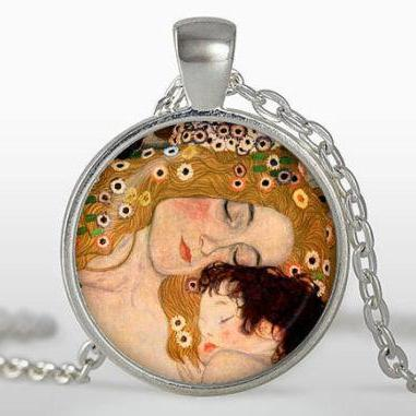 Mothers necklace Mother and Child Pendant, Giustav Klimpt art necklace