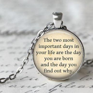 Mark Twain Quote Necklace, Literature Necklace, Inspirational Jewelry