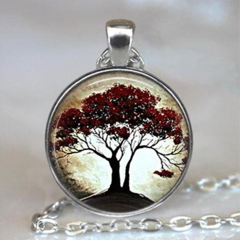 Moonlight and Oak Tree pendant, resin pendant tree necklace, tree jewelry