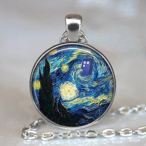 Dr Who Starry Night pendant, Vincent and the Doctor Dr Who jewelry