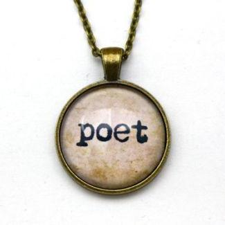 Poet Typewriter & Old Paper Necklace