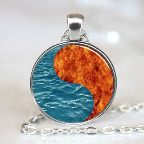 Ying Yang Fire and Water Chinese Necklace Pendant, Oriental jewelry