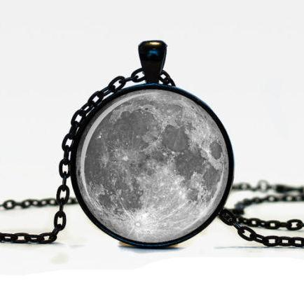 MOON PENDANT Moon Pendant Space Galaxy Grey Moon Jewelry Necklace